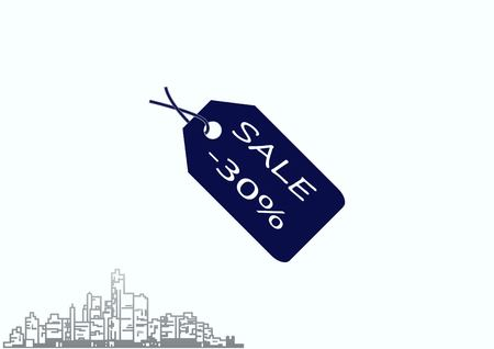 representative: SALE tag icon, vector illustration in flat design style.