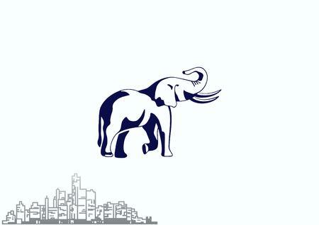 Vector illustration of an elephants head. Large, dangerous beast.