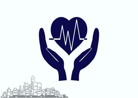 Human heart, Cardiology resuscitation icon. Vector illustration.
