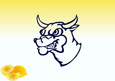 Vector illustration of the evil head, ferocious, aggressive bull. Predatory, dangerous beast. Angry bison.