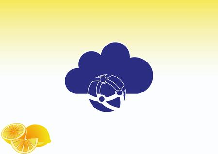 Cloud storage, icon  vector illustration Illustration