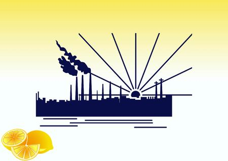 Factory silhouette icon. Vector Illustration. Industrial landscape. Heavy industry logo.