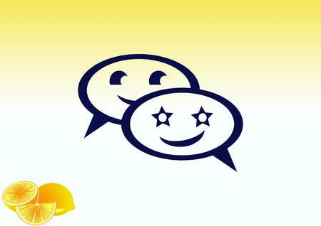 email icon: Smile talking bubble icon, vector illustration. Flat design style