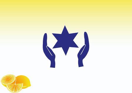 hasidism: Star of David Jewish synagogue icon Illustration