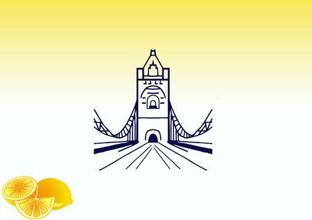 City silhouette icon. Vector illustration. logo bridge. Bridge over river. City landscape. Illustration
