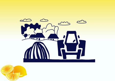 Retro landscapes. Editable EPS10 vector illustration, Agriculture field.