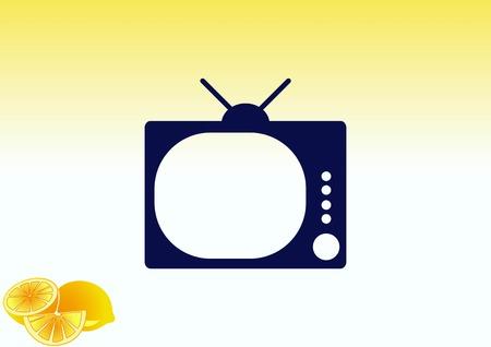 Flat icon of tv icon Illustration