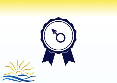 scrotum: Healthy man to cure prostatitis Urology icon vector illustration. Illustration