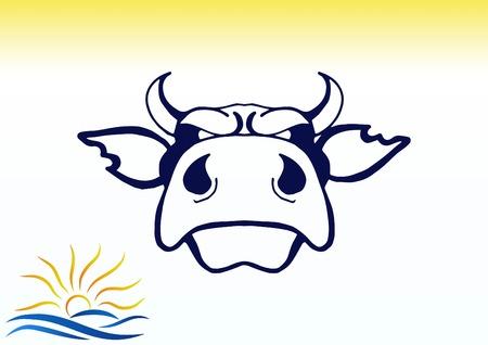 ferocious: Vector illustration of the evil head, ferocious, aggressive bull. Predatory, dangerous beast. Angry bison.