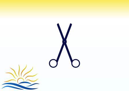trim: Scissors, cut icon Illustration