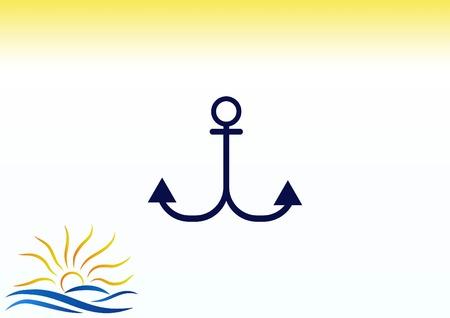 navy blue background: Anchor icon Illustration