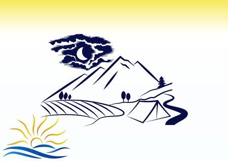 Paisaje de montaña. Icono de camping. Ilustración de vector