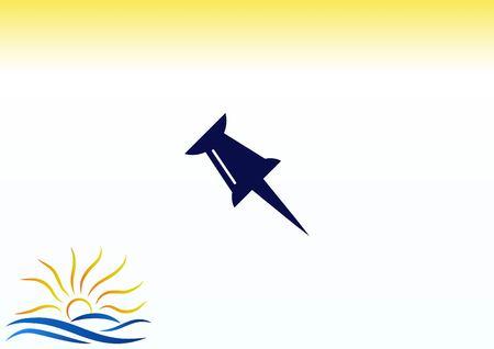 push pin icon, vector illustration. Illustration