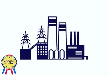 heavy construction: Factory silhouette icon. Vector Illustration. Industrial landscape. Heavy industry logo.