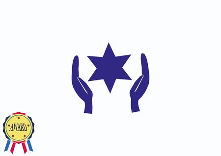 entwined: Star of David Jewish synagogue icon Illustration