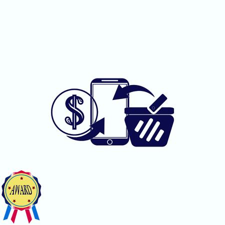Shopping online icon. Illustration