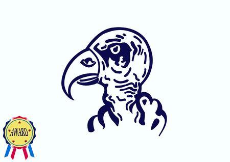 Vector illustration of the evil head, ferocious, aggressive vulture. Predatory, dangerous beast. Angry Eagle.
