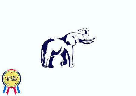 Vector illustration of an elephants head. Large, dangerous beast. Logo, graphics elephant.