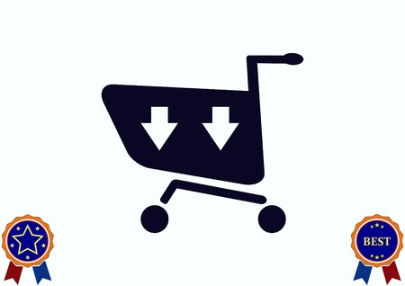 supermarket: Shopping trolley, cart icon, On line sale icon Illustration