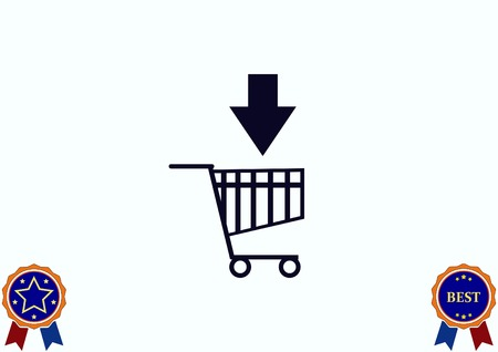 supermarket: Shopping trolley, cart icon, On line sale icon vector illustration.