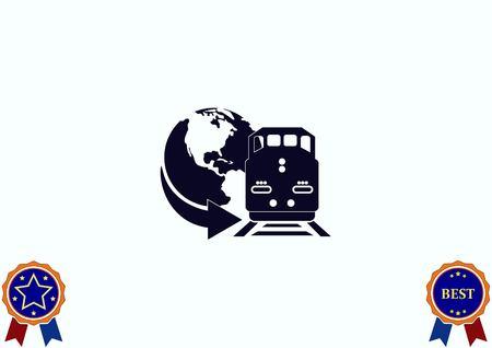 Freight train icon vector illustration. Illustration