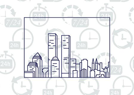office building: City silhouette icon. Vector Illustration. logo New York Illustration