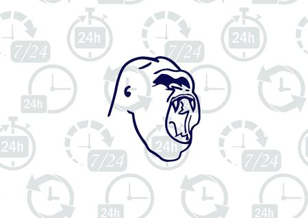 ferocious: Monkey  icon.  Aggressive,  Angry gorilla head. Vector  illustration.