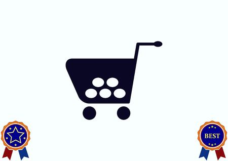 electronic commerce: Shopping trolley, cart icon, On line sale icon Illustration