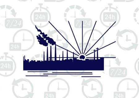 heavy: Factory silhouette icon. Vector Illustration. Industrial landscape. Heavy industry logo.