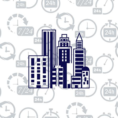 office building: House, building doodle , City silhouette icon. Vector Illustration. logo