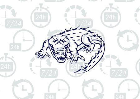 Crocodile Predatory, dangerous beast. Angry alligator, caiman. Illustration