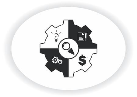 Icône de stratégie d'entreprise, icône de concept d'affaires, illustration vectorielle. Banque d'images - 89774517