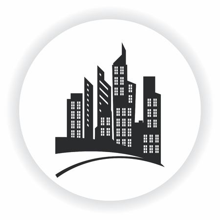House, building doodle , City silhouette icon. Illustration