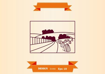 Retro landscapes. Editable EPS10 vector illustration, Agriculture field. Banco de Imagens - 95828499