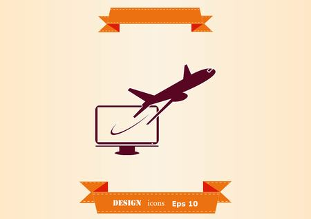 Aircraft flying out of a screen icon vector illustration. 일러스트