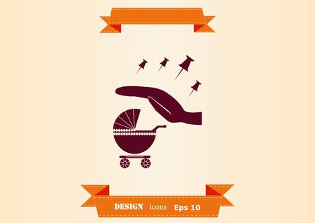 baby carriage icon vector illustration.