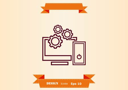 Computer, laptop icon vector illustration. Çizim