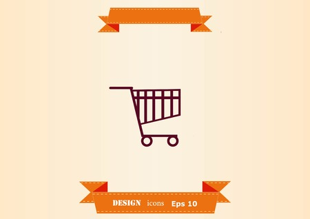 Shopping trolley, cart icon, On line sale icon design illustration