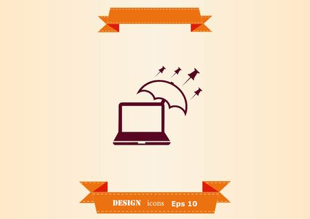 Protecting your computer laptop icon Ilustração