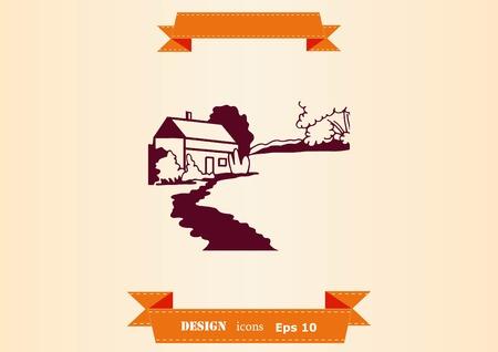 Retro landscapes design illustration