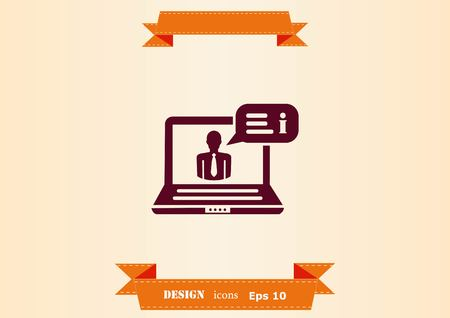 Business strategy icon, business concept icon, vector illustration with laptop and user Illustration