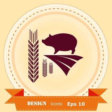 Farm products logo, Retro landscapes. Editable EPS10 vector illustration
