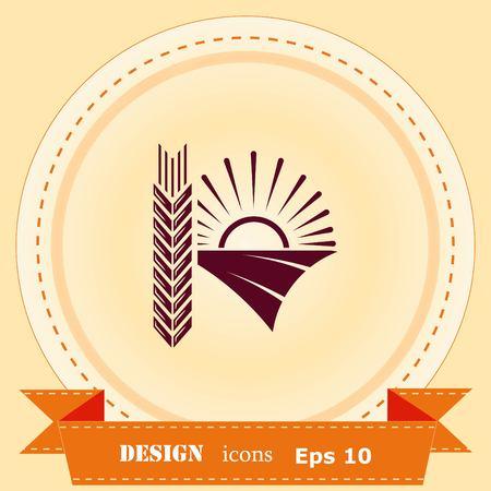 Farm products logo, Retro landscapes. Editable EPS10 vector illustration