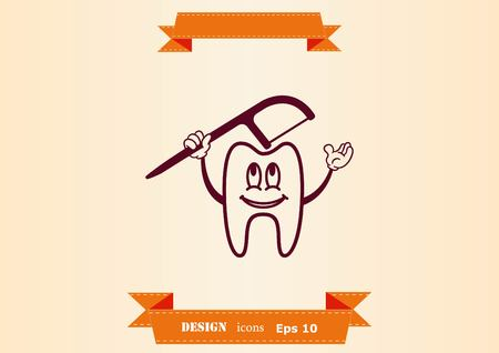 Dental treatment icon. Fillings and tweezers linear signs.