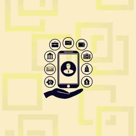 Internet banking icon with hand mobile phone and icons. Vector illustration on pattern background.