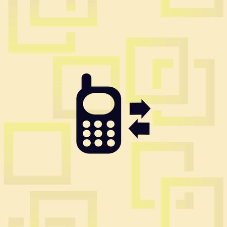 Phone or communication icon, Vector illustration on pattern background.