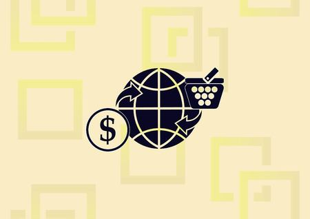 Online sale icon, globe with money and basket illustration on light background.