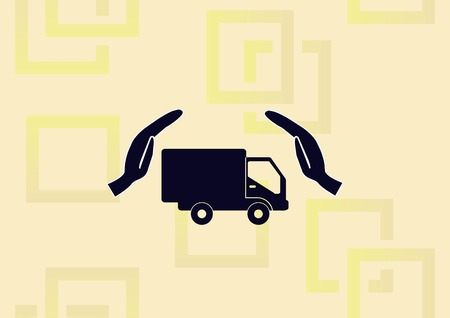 Truck and hands illustration, logistic icon.