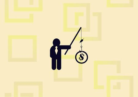 Businessman fishing money, business strategy concept. Illustration
