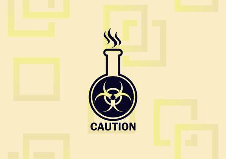 Laboratory equipment, Erlenmeyer flash with icon with poison illustration on light background.
